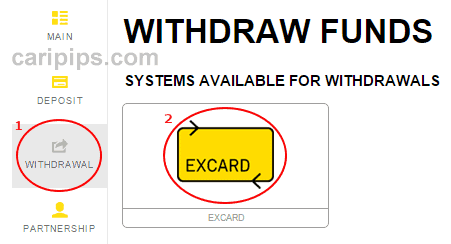 withdraw funds excard exness